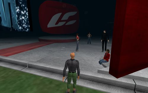 Chat at SL church grounds_001